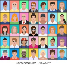 Portraits of people of different nationalities on a colorful background, detailed drawing, vector illustration