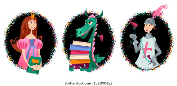 Portraits of Princess, knight with a rose and dragon with books. Diada de Sant Jordi (the Saint George's Day). Traditional festival in Catalonia, Spain. Vector illustration.