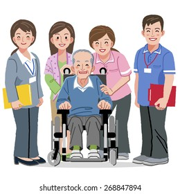 Portraits of smiling aged man in wheelchair and nursing caregivers