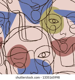 Portraits a women with glasses in modern abstract style. Hand-drawn vector seamless pattern for your contemporary fashion design.