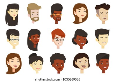 Portraits of young glad smiling men and women. Avatars of cheerful Caucasian white, African-american and Asian people in eyeglasses. Set of vector cartoon illustrations isolated on white background.