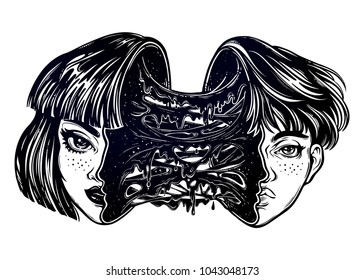 Portriat of a girl turning into a boy with a head full of slime goo. Having a men and woman iside ones dual identity. Change of personality. Creepy sci-fi, tattoo art. Isolated vector illustration..