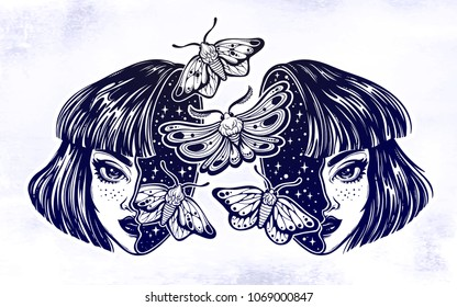 Portriat of the surreal human witch girl with a head open and full of night moth butterflies. Dreamy sci-fi, tattoo art. Isolated vector illustration. Trendy T-shirt print. Halloween, weird sticker.