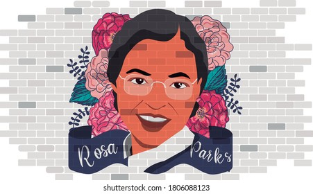 Portrit of Rosa Parks. Civil Rights Icon. Montgomery, Alabama, United Estated,  1955