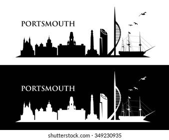 Portsmouth UK skyline - vector illustration