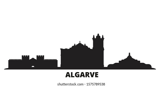 Portugal, Algarve city skyline isolated vector illustration. Portugal, Algarve travel black cityscape