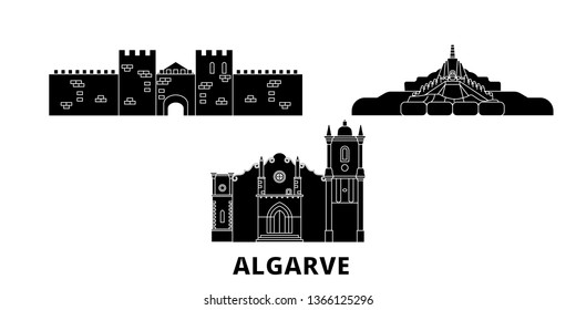 Portugal, Algarve flat travel skyline set. Portugal, Algarve black city vector illustration, symbol, travel sights, landmarks.