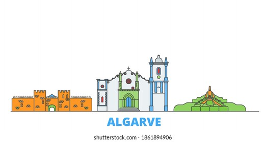 Portugal, Algarve line cityscape, flat vector. Travel city landmark, oultine illustration, line world icons