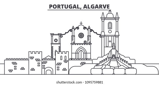 Portugal, Algarve line skyline vector illustration. Portugal, Algarve linear cityscape with famous landmarks, city sights, vector landscape.