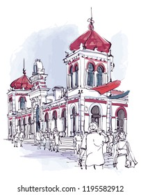 Portugal, Algarve town of Loule, the market - vector illustration