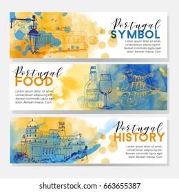 Portugal banner vector set