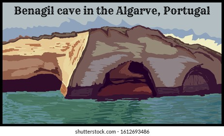 Portugal, Benagil cave in the Algarve. Retro poster, vector art illustration. Top most beautiful  and unique places on earth.