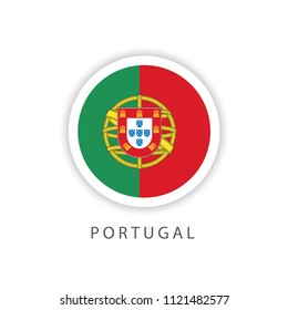 Portugal Button Flag Vector Template Design Illustrator