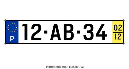 Portugal car plate. Vehicle registration number