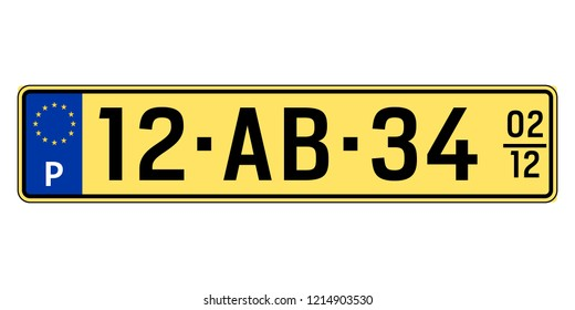 Portugal car plate. Vehicle registration number