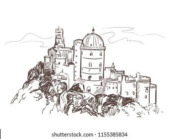 Portugal Cintra castle vector sketch