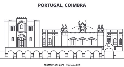 Portugal, Coimbra line skyline vector illustration. Portugal, Coimbra linear cityscape with famous landmarks, city sights, vector landscape.