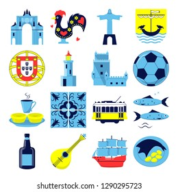 Portugal culture icons set in flat style