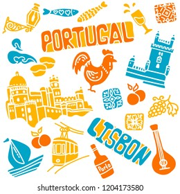 Portugal elements and symbols. Hand drawn icons of Portugal, Lisbon and Porto. Travel icons. Text Lisbon. Vector file