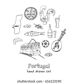 Portugal elements and symbols. Hand drawn vector illustration