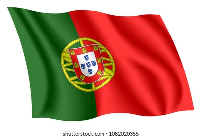 Portugal flag. Isolated national flag of Portugal. Waving flag of the Portuguese Republic. Fluttering textile portuguese ensign. Flag of the Five Escutcheons. Green-Red banner.