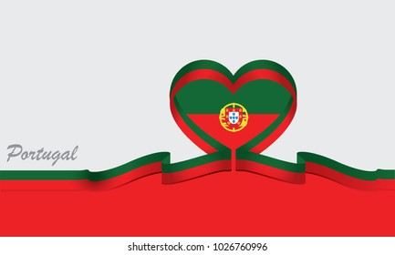 portugal flag and love ribbon