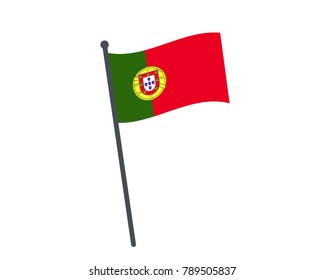 Portugal flag. The national flag of Portugal on a pole. The waving flag. The sign and symbol of the country. Realistic vector on white.