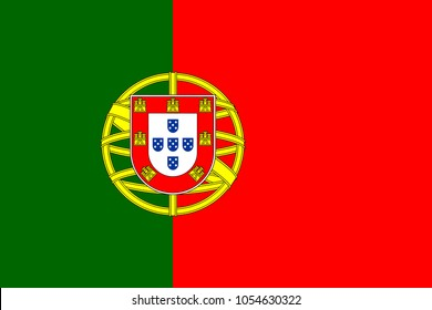 Portugal flag with official colors and the aspect ratio of 2:3. Flat vector illustration.