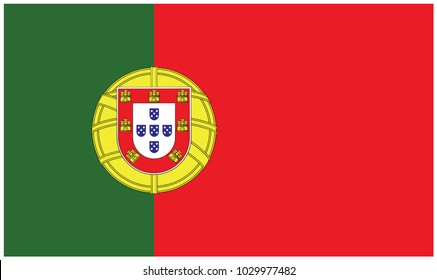 Portugal flag, official colors and proportion correctly. National Portugal flag. Vector illustration
