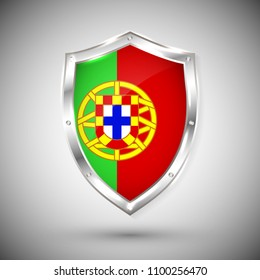 Portugal flag on metal shiny shield vector illustration. Collection of flags on shield against white background. Abstract isolated object.