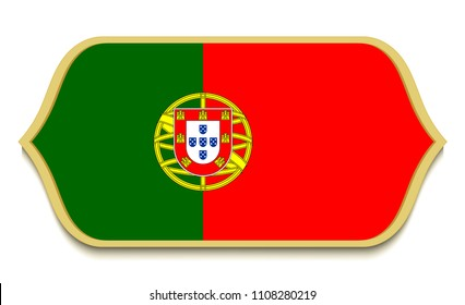 Portugal. Flat national flag icon button. Portuguese symbol isolated on white background.