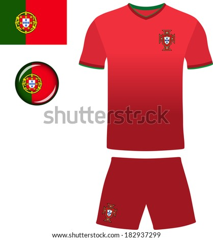 0b2031f6b33 Portugal Football Jersey. Abstract vector image of the Portuguese football  kit, along with flag