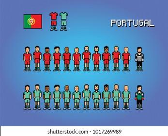 Portugal football team soccer player uniform pixel art game illustration