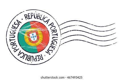 Portugal grunge postal stamp and flag on white background