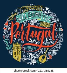 Portugal. Hand drawn vector background. Handdrawn conceptual illustration of  Portugal. Lettering and illustrations of travel and landmark portugal design. Poster or t-shirt design.