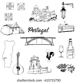 Portugal. Hand drawn vector set