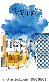 Portugal. Hand drawn watercolor vector background with  tram