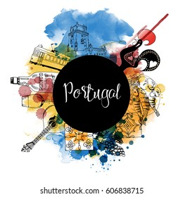 Portugal. Hand drawn watercolor vector background