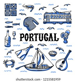Portugal landmarks set. Handdrawn sketch style vector illustration.