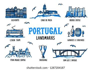 Portugal landmarks set. Handdrawn sketch style vector illustration.