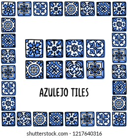 Portugal landmarks set. Portuguese tiles, azulejo. Lisbon mosaic in frame of Portuguese tiles, azulejo. Handdrawn sketch style vector illustration. Exellent for souvenirs, magnets, post cards.