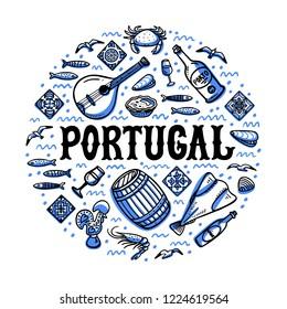 Portugal landmarks set. Round shape design with portugal symbols. Handdrawn sketch style vector illustration.