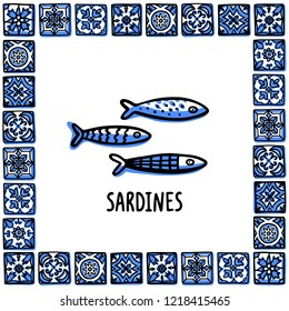 Portugal landmarks set. Traditional portuguese Sardines. Sardines in frame of Portuguese tiles. Sketch style vector illustration, for souvenirs, magnets, post cards.