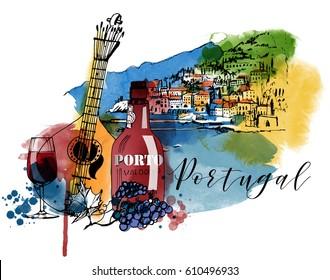 Portugal landscape. Watercolor vector poster