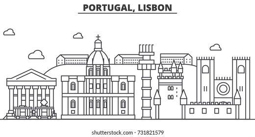 Portugal, Lisbon architecture line skyline illustration. Linear vector cityscape with famous landmarks, city sights, design icons. Landscape wtih editable strokes