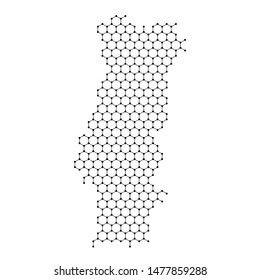 Portugal map from abstract futuristic hexagonal shapes, lines, points black, in the form of honeycomb or molecular structure. Vector illustration.