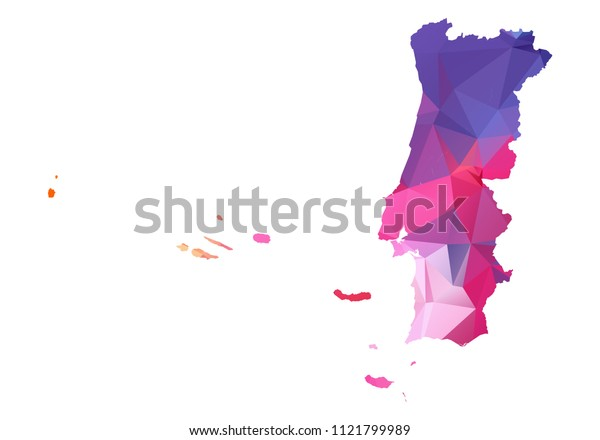 portugal map blue vector illustration in polygonal style on white background. colorful abstract of portugal map. Abstract tessellation,modern design background.