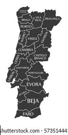 Portugal Map labelled black illustration