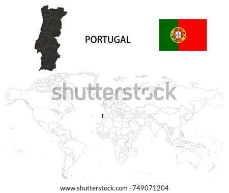 Portugal Map On World Map Flag Stock Vector (Royalty Free) 749071204 ...