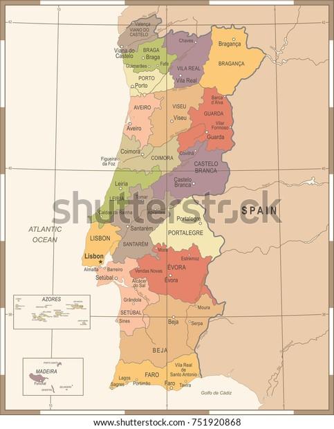 Image Vectorielle De Stock De Carte Du Portugal Illustration Vectorielle 751920868